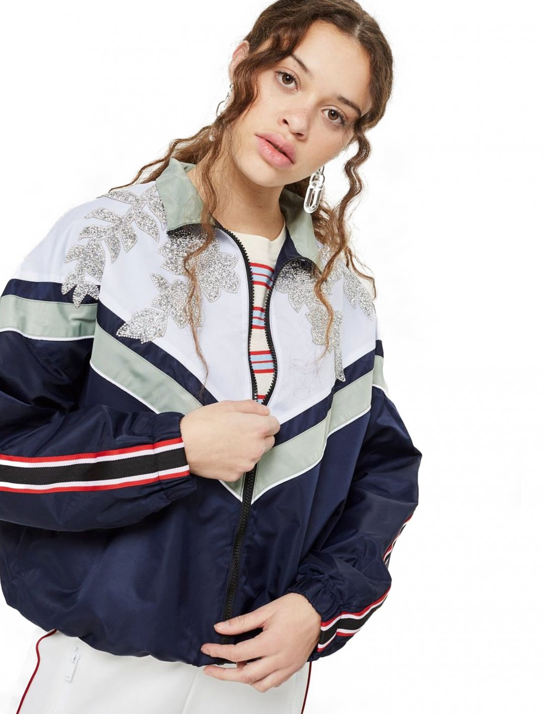 "Topshop PETITE Embellished Windbreaker Jacket {""id"":5,""product_section_id"":1,""name"":""Clothing"",""order"":5} Topshop"