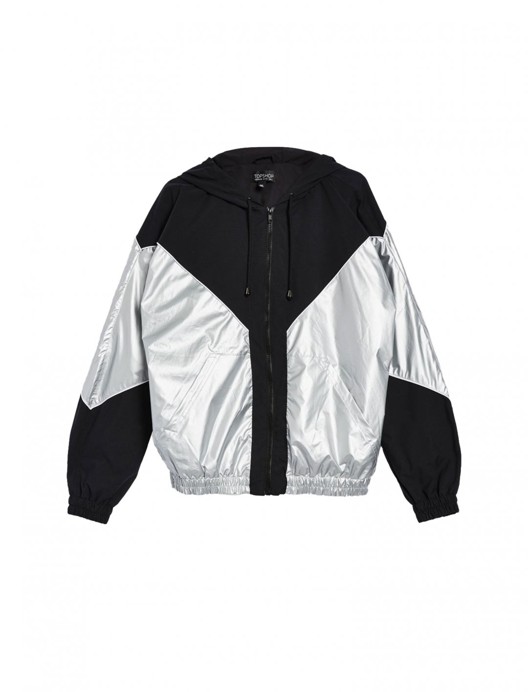 "Topshop Silver Windbreaker Jacket {""id"":5,""product_section_id"":1,""name"":""Clothing"",""order"":5} Topshop"