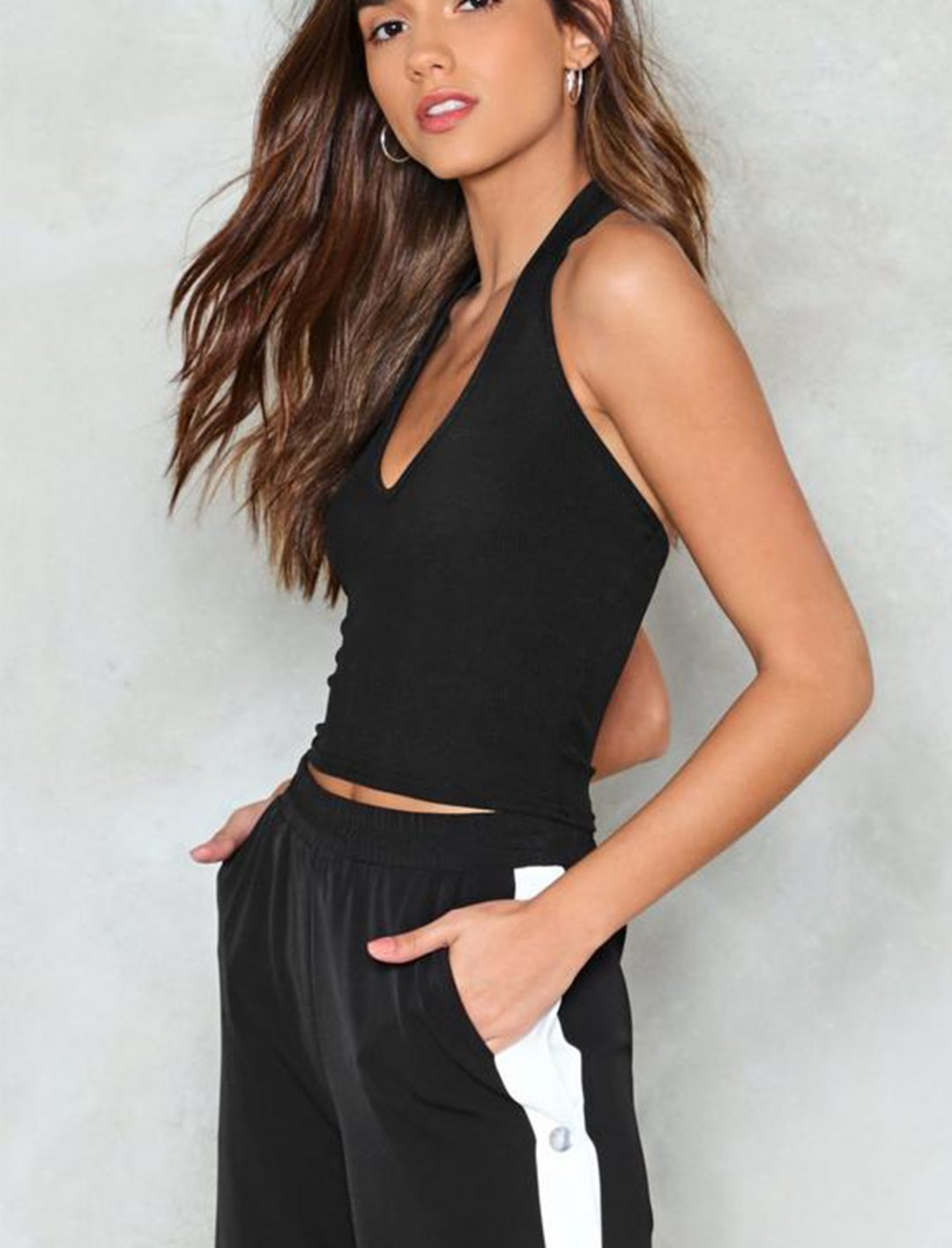"""Black Halter Top {""""id"""":5,""""product_section_id"""":1,""""name"""":""""Clothing"""",""""order"""":5} Nasty Gal"""