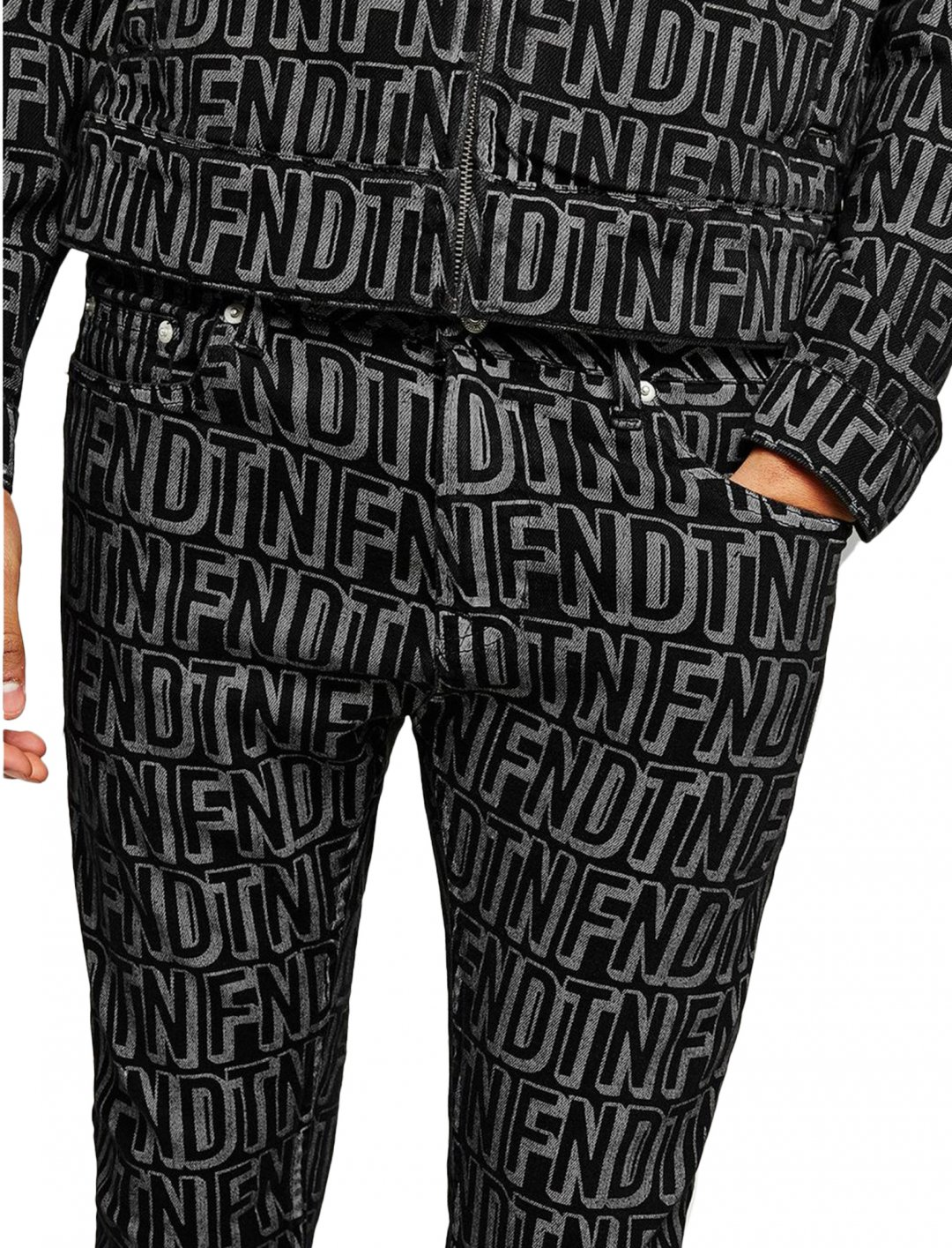 """Black Letter Print Jeans {""""id"""":5,""""product_section_id"""":1,""""name"""":""""Clothing"""",""""order"""":5} Topman"""