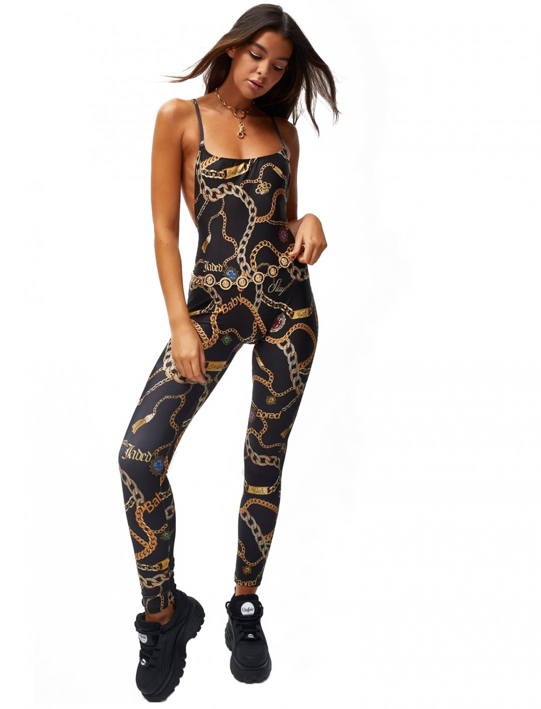 """Chain Print Catsuit {""""id"""":5,""""product_section_id"""":1,""""name"""":""""Clothing"""",""""order"""":5} Jaded London"""