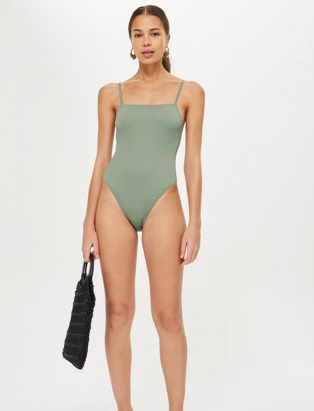 "Straight Neck Ribbed Swimsuit {""id"":5,""product_section_id"":1,""name"":""Clothing"",""order"":5} Topshop"