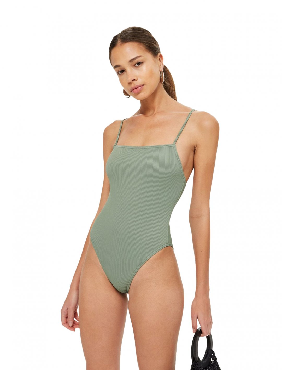 """Straight Neck Ribbed Swimsuit {""""id"""":5,""""product_section_id"""":1,""""name"""":""""Clothing"""",""""order"""":5} Topshop"""