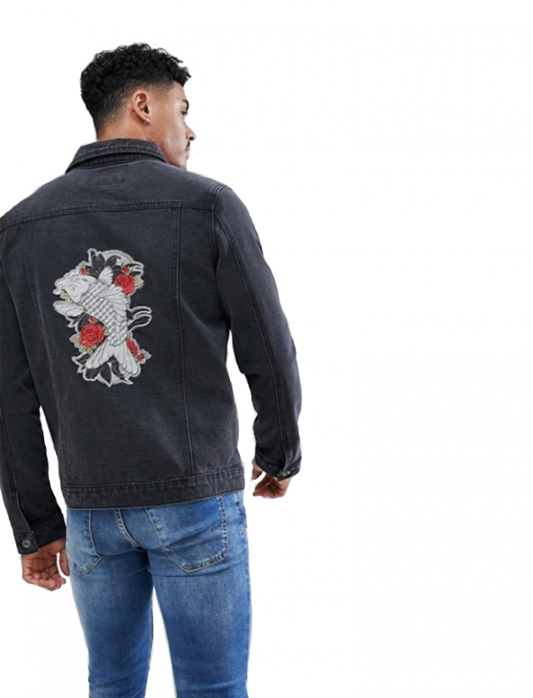 "Embroidered Denim Jacket {""id"":5,""product_section_id"":1,""name"":""Clothing"",""order"":5} Liquor N Poker"
