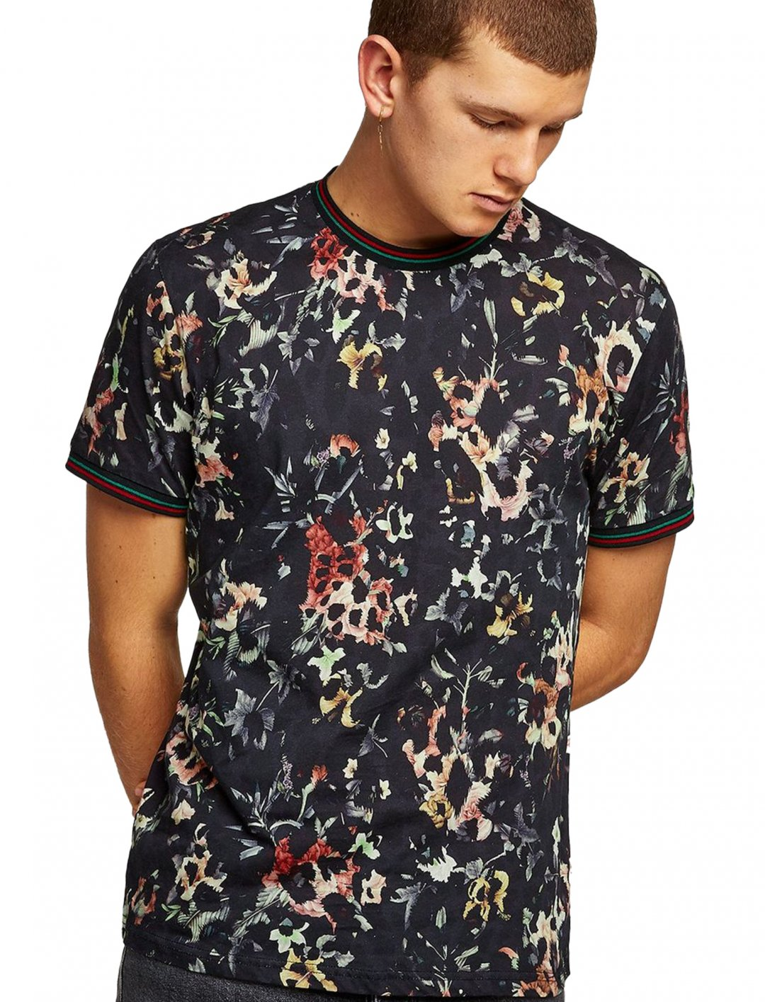 "Topman Floral Leopard Tipped T-Shirt {""id"":5,""product_section_id"":1,""name"":""Clothing"",""order"":5} Topman"