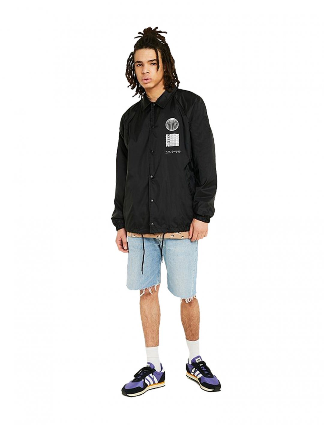 "UO Slammin Black Coach Jacket {""id"":5,""product_section_id"":1,""name"":""Clothing"",""order"":5} UO"