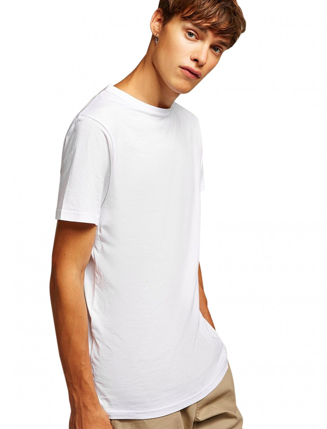 "White Longline T-Shirt {""id"":5,""product_section_id"":1,""name"":""Clothing"",""order"":5} Topman"