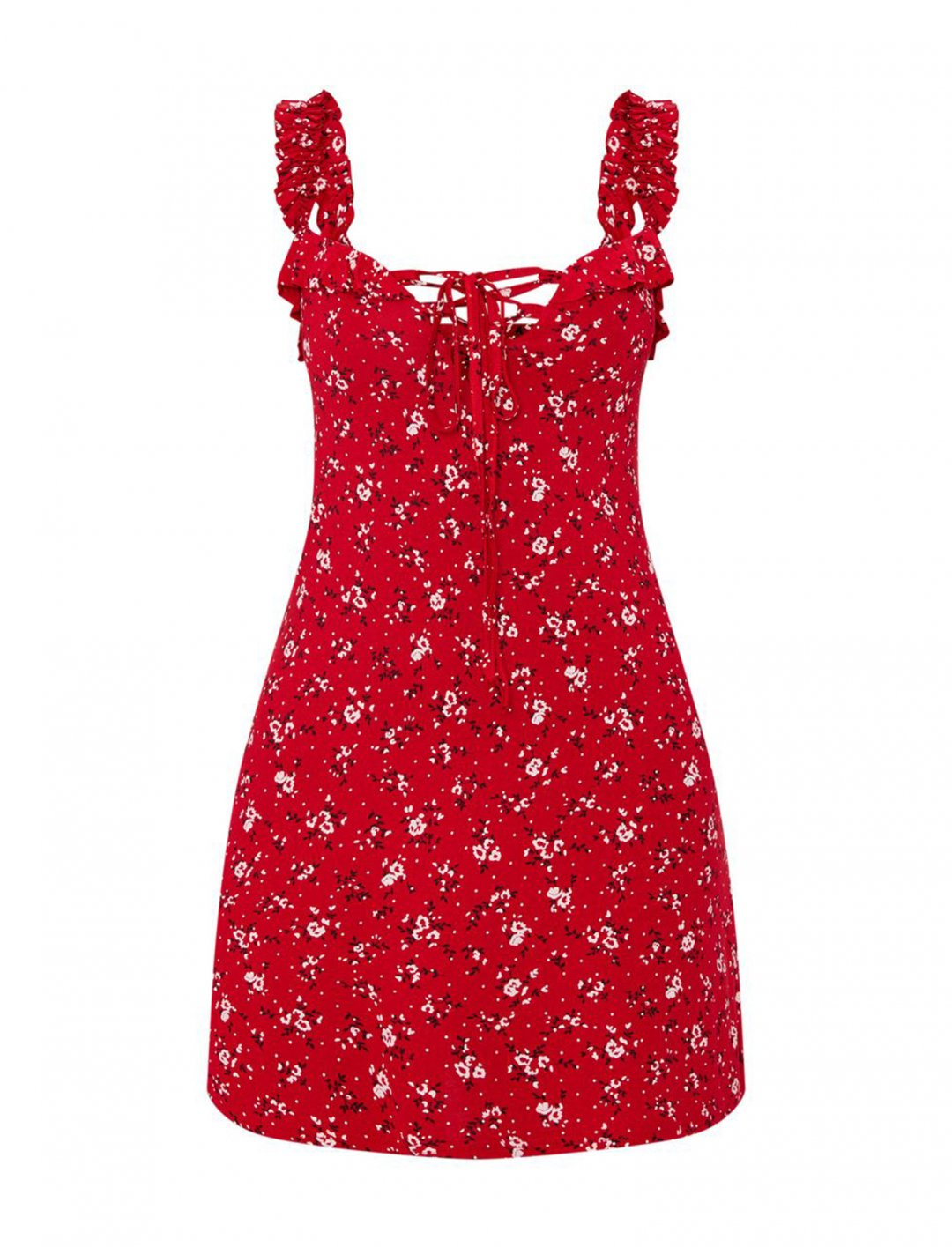 "Red Dress In Floral Print {""id"":5,""product_section_id"":1,""name"":""Clothing"",""order"":5} Pretty Little Thing"