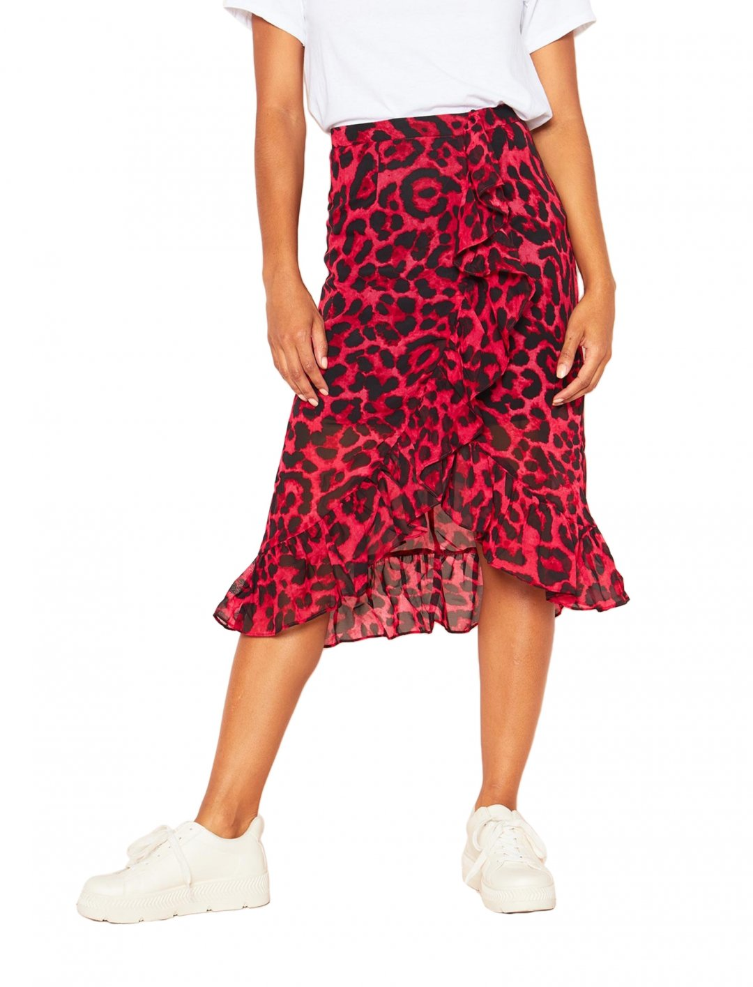"Red Leopard Print Skirt {""id"":5,""product_section_id"":1,""name"":""Clothing"",""order"":5} Missy Empire"