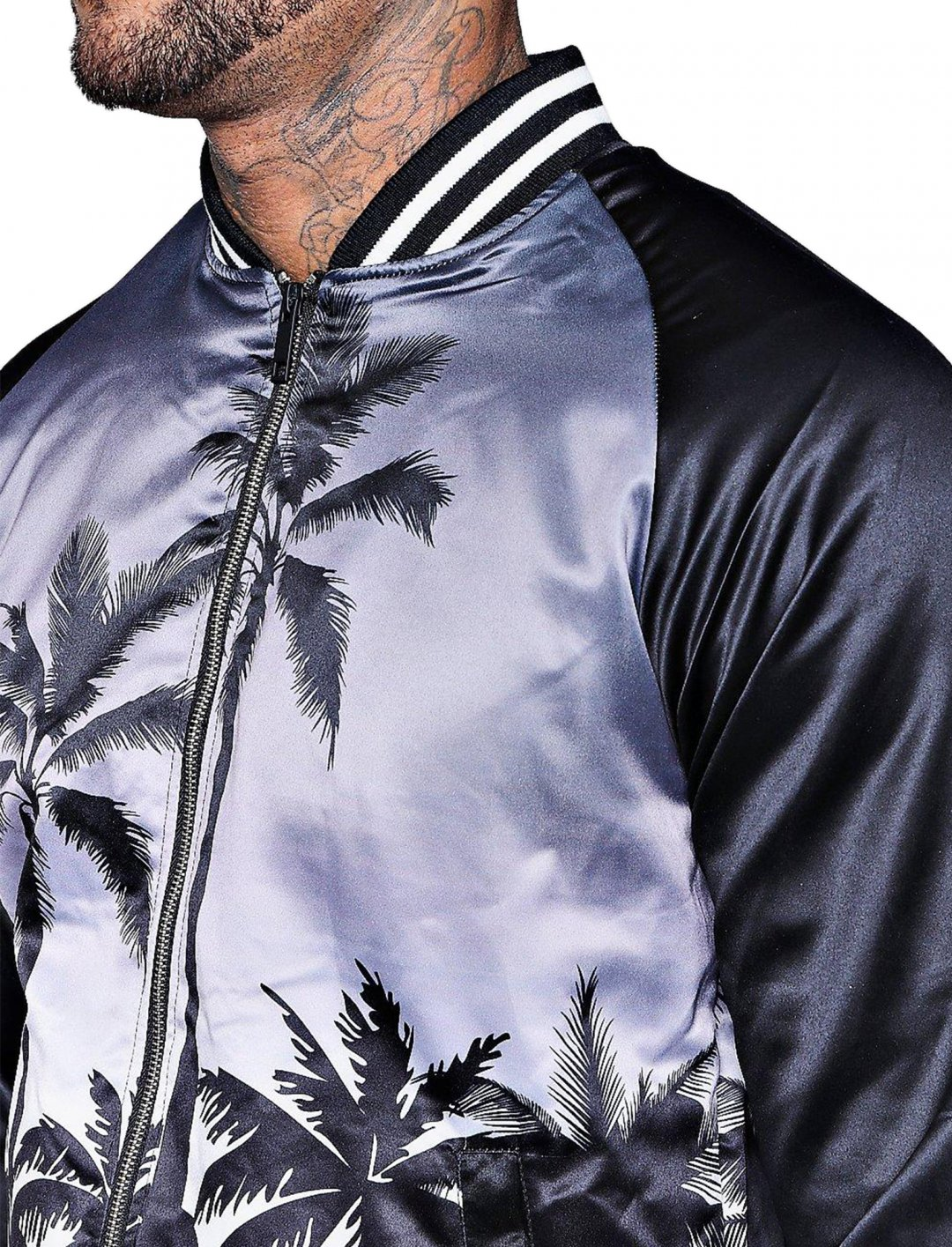 "Palm Print Bomber Jacket {""id"":5,""product_section_id"":1,""name"":""Clothing"",""order"":5} boohoo"