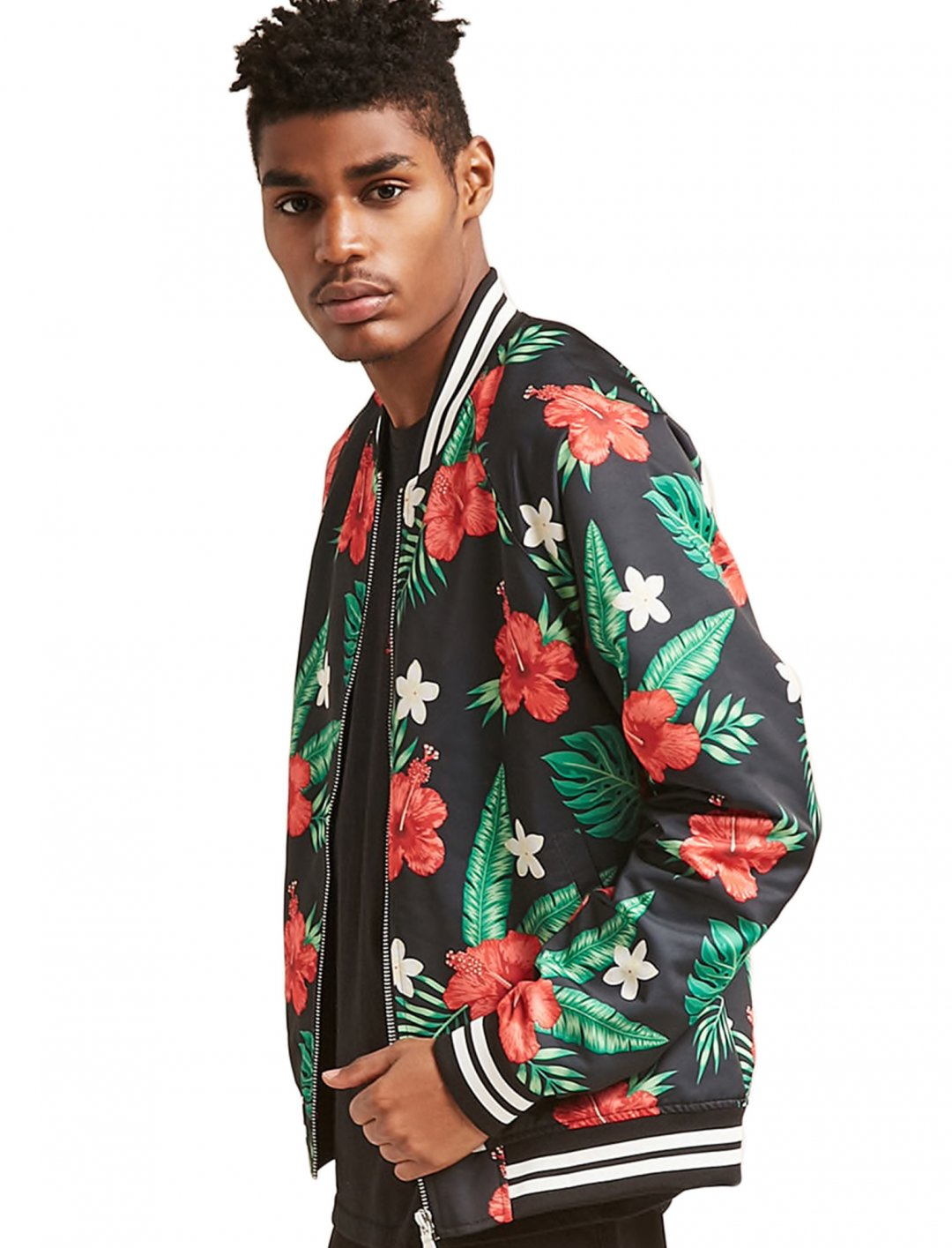 "Tropical Floral Bomber Jacket {""id"":5,""product_section_id"":1,""name"":""Clothing"",""order"":5} Forever 21"