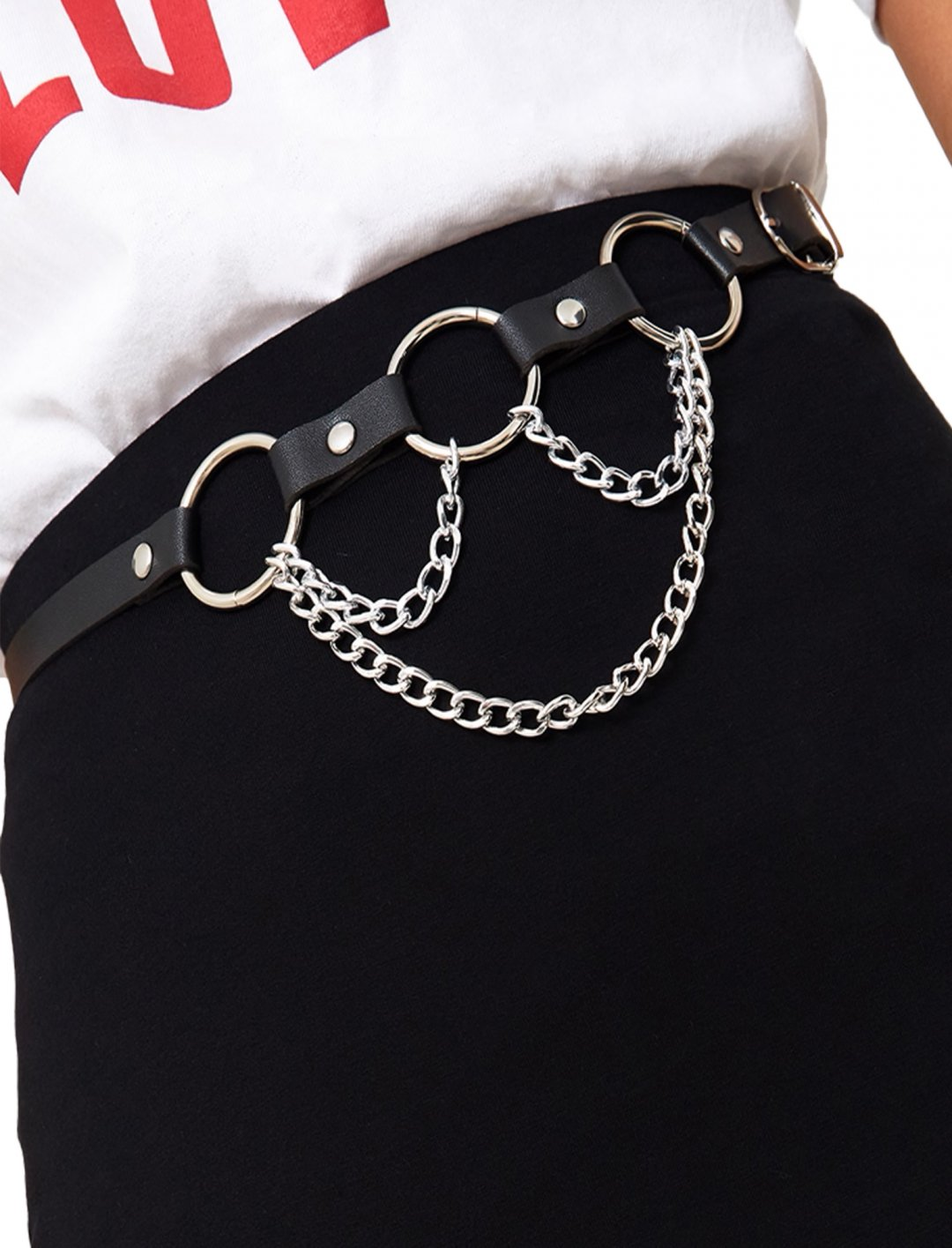 """Black Ring Chain Belt {""""id"""":16,""""product_section_id"""":1,""""name"""":""""Accessories"""",""""order"""":15} Pretty Little Thing"""