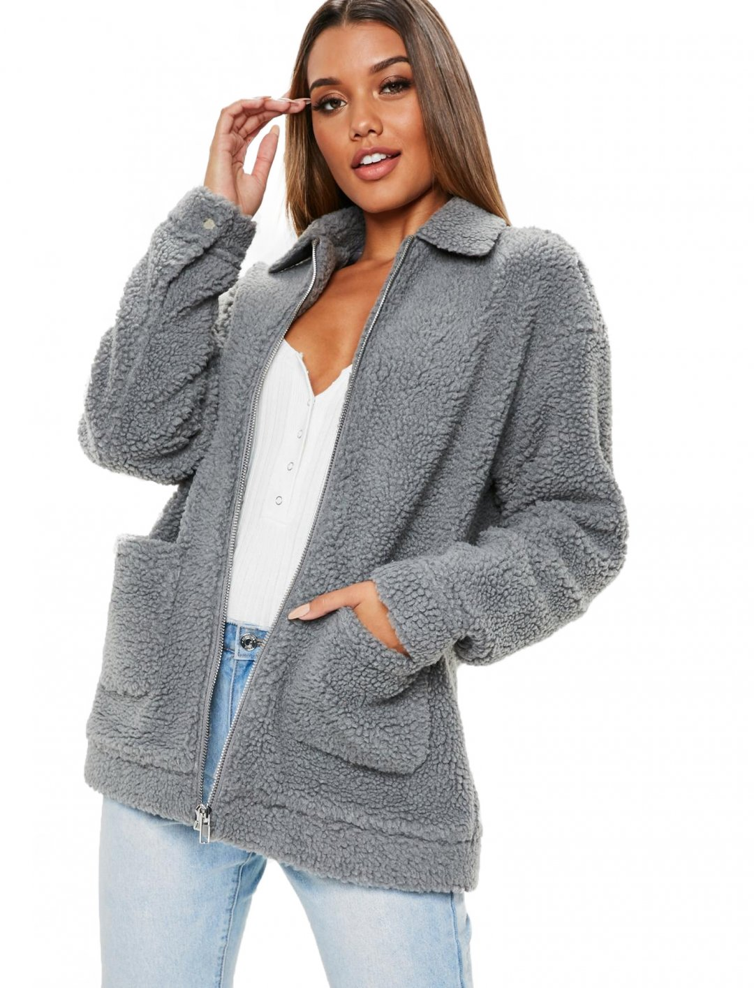 "Oversized Borg Jacket {""id"":5,""product_section_id"":1,""name"":""Clothing"",""order"":5} Missguided"