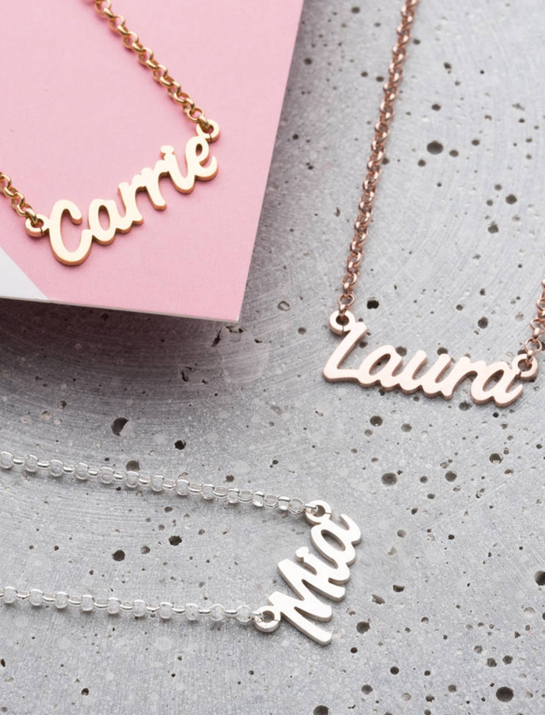 "Personalised Name Necklace {""id"":10,""product_section_id"":1,""name"":""Jewellery"",""order"":10} Not On The High Street"
