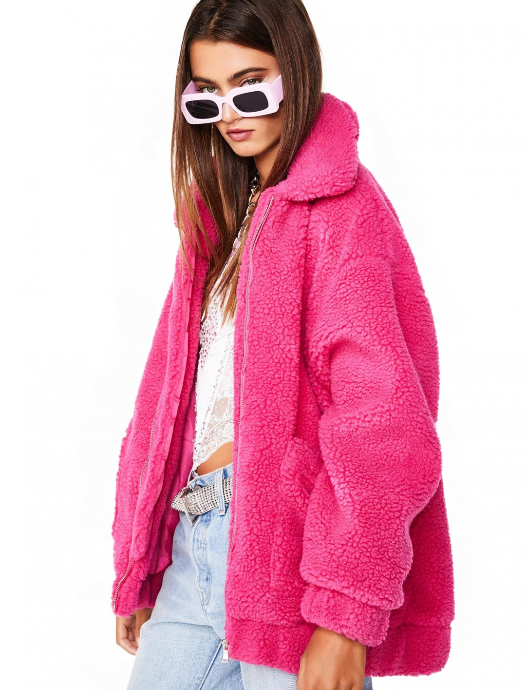 "Teddy Coat In Pink {""id"":5,""product_section_id"":1,""name"":""Clothing"",""order"":5} I.AM.GIA X Dolls Kill"
