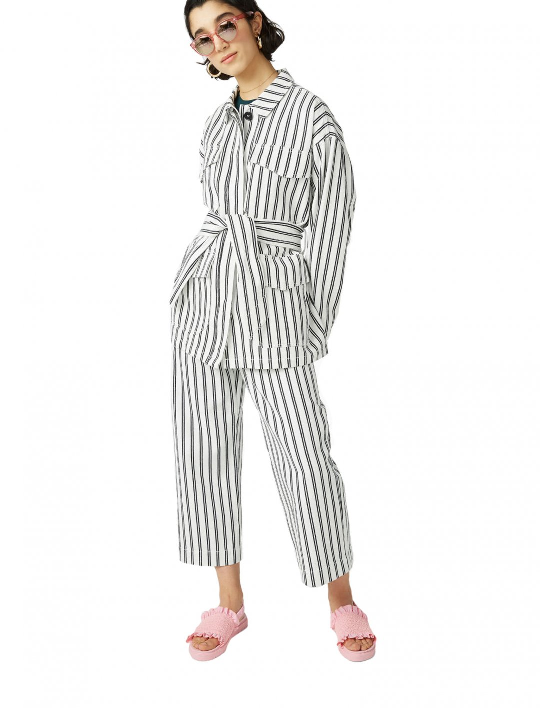 "Monki Striped Utility Jacket {""id"":5,""product_section_id"":1,""name"":""Clothing"",""order"":5} Monki"