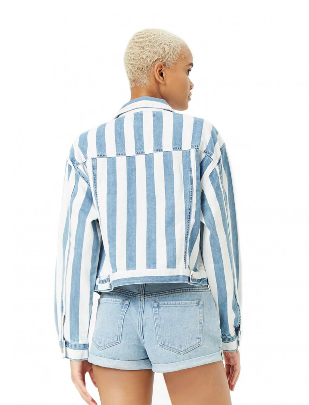 "Striped Denim Jacket {""id"":5,""product_section_id"":1,""name"":""Clothing"",""order"":5} Forever 21"