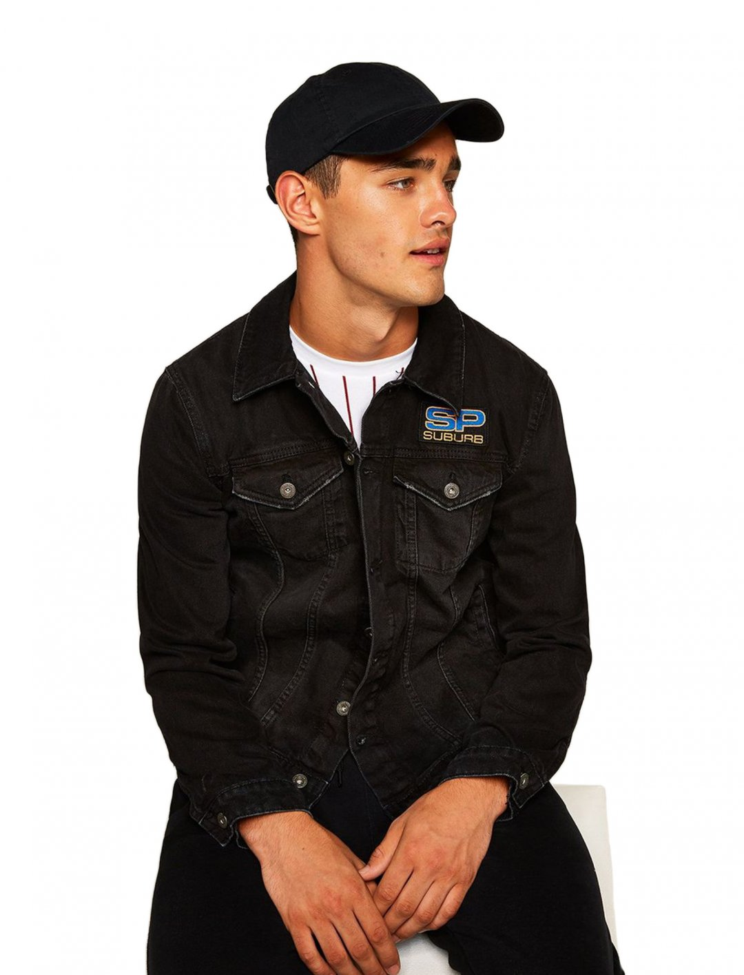 "Black Embroidered Denim Jacket {""id"":5,""product_section_id"":1,""name"":""Clothing"",""order"":5} Topman"