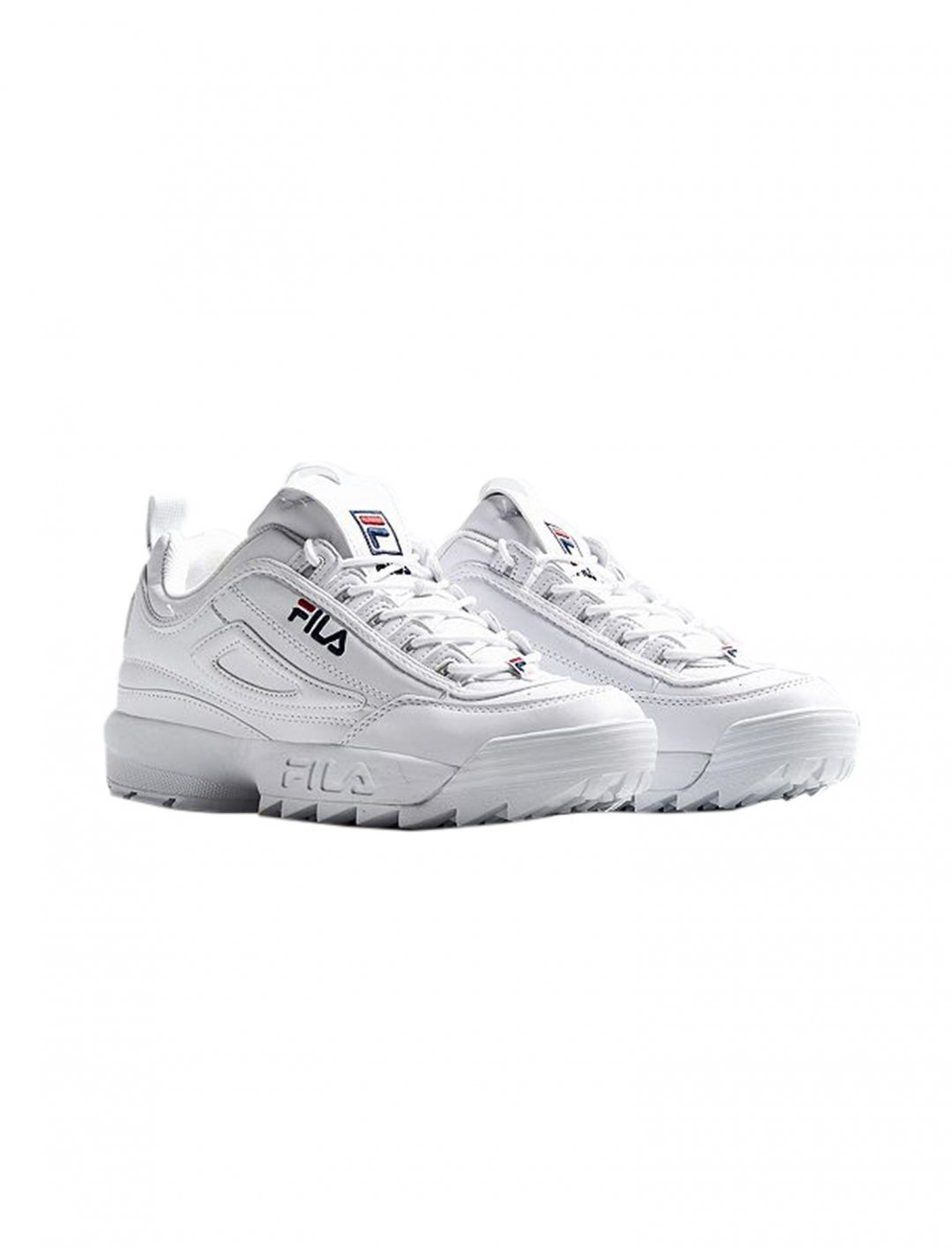 "Disruptor II White Trainers {""id"":12,""product_section_id"":1,""name"":""Shoes"",""order"":12} FILA"