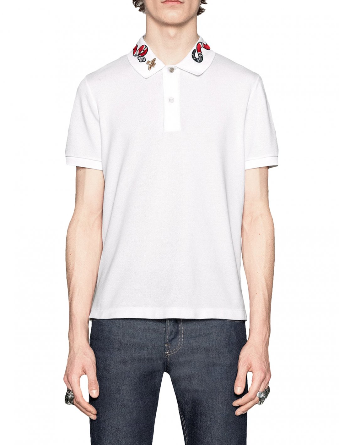 "Kingsnake Embroidered Polo Shirt {""id"":5,""product_section_id"":1,""name"":""Clothing"",""order"":5} Gucci"