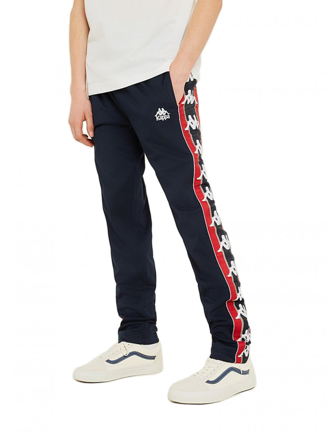 "Navy Logo Track Pants {""id"":5,""product_section_id"":1,""name"":""Clothing"",""order"":5} Kappa"
