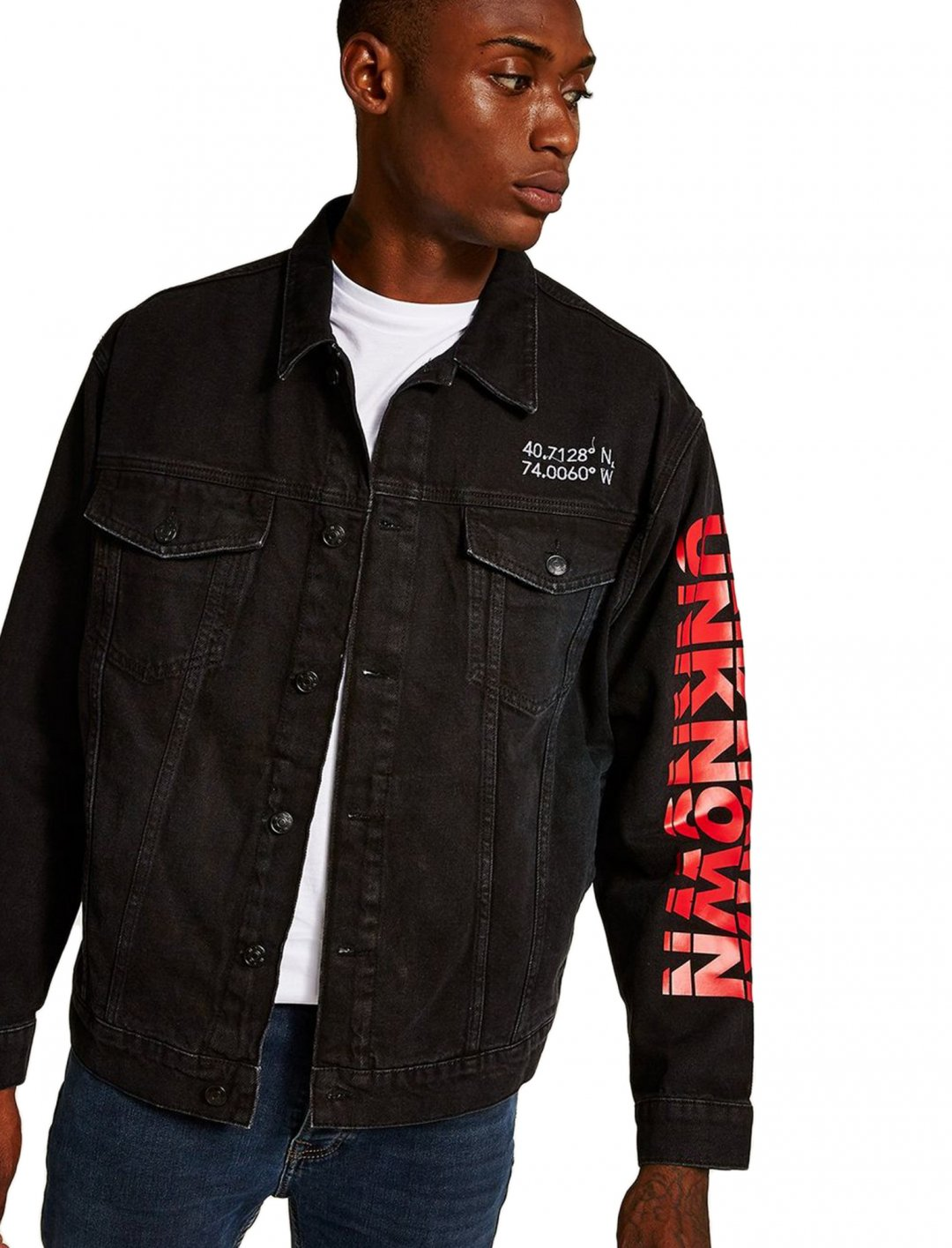 """Printed Denim Jacket {""""id"""":5,""""product_section_id"""":1,""""name"""":""""Clothing"""",""""order"""":5} Topman"""