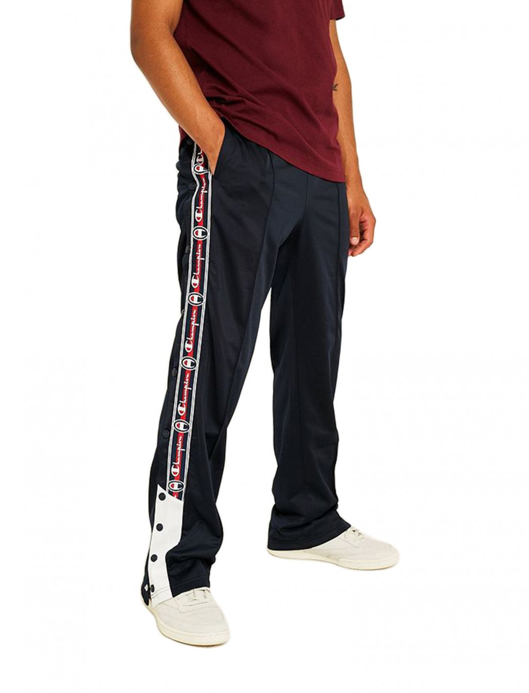 "Side Stripe Navy Joggers {""id"":5,""product_section_id"":1,""name"":""Clothing"",""order"":5} Champion"