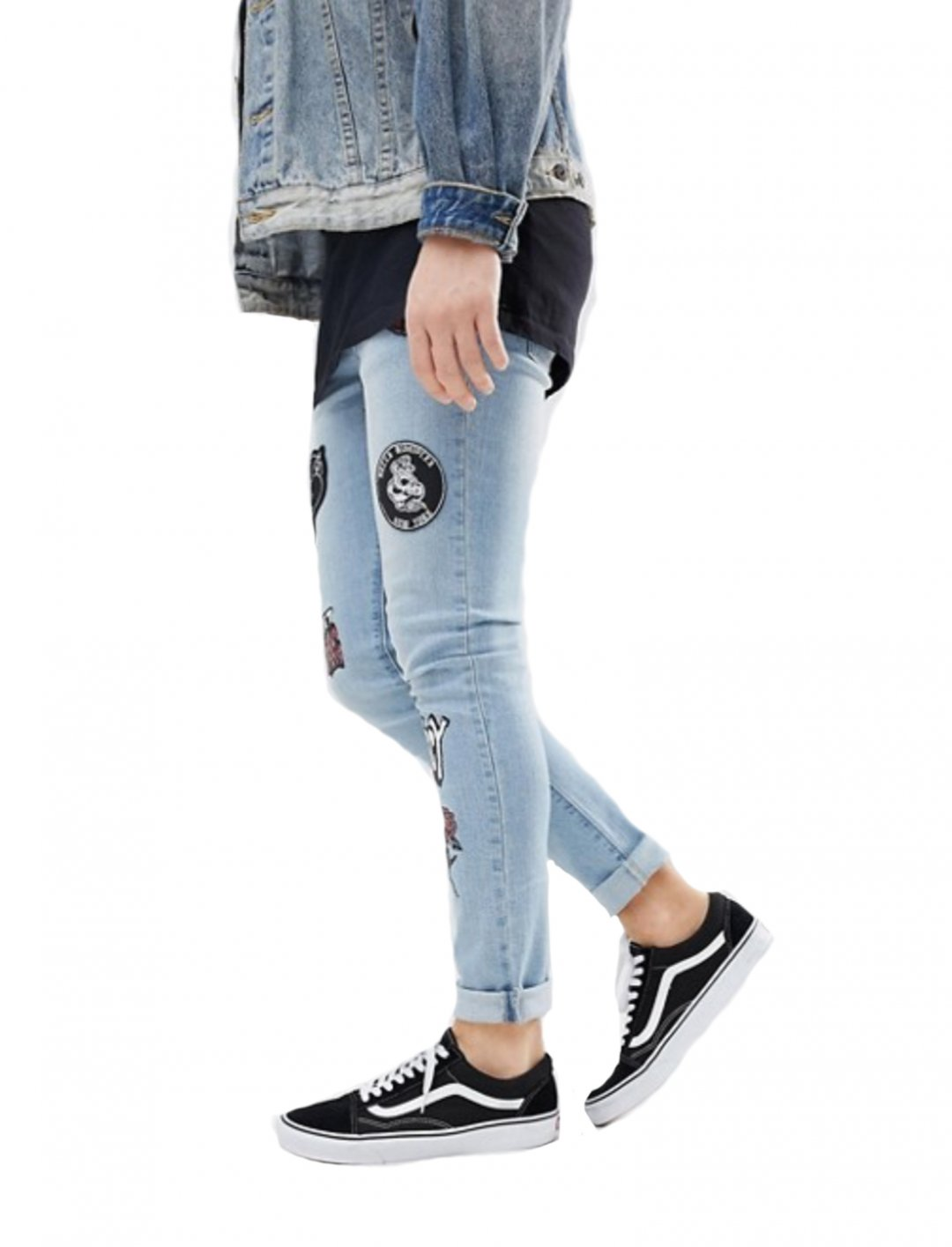"Skinny Jeans With Patches {""id"":5,""product_section_id"":1,""name"":""Clothing"",""order"":5} ASOS DESIGN"