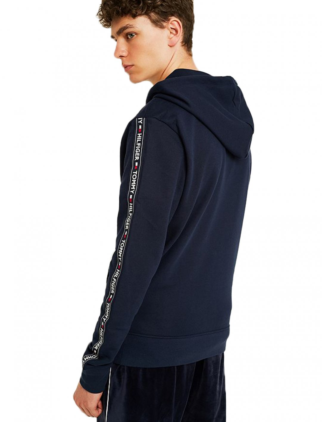 "Taped Sleeves Navy Hoodie {""id"":5,""product_section_id"":1,""name"":""Clothing"",""order"":5} Tommy Hilfiger"