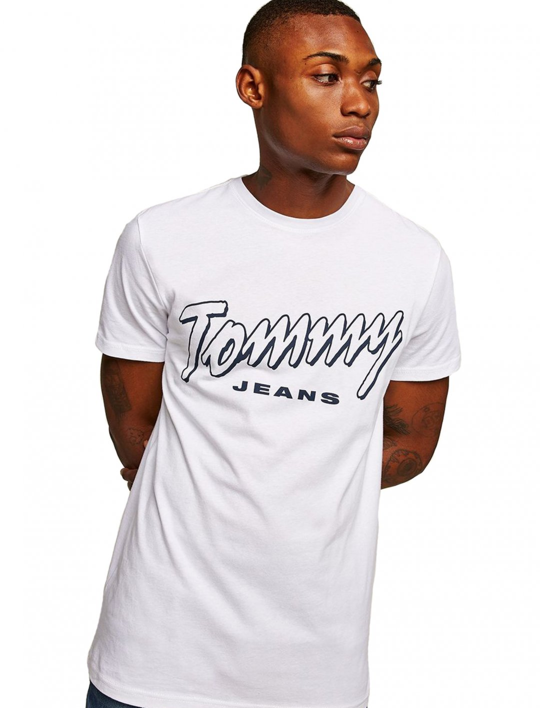 """White Script T-Shirt {""""id"""":5,""""product_section_id"""":1,""""name"""":""""Clothing"""",""""order"""":5} Tommy Hilfiger"""