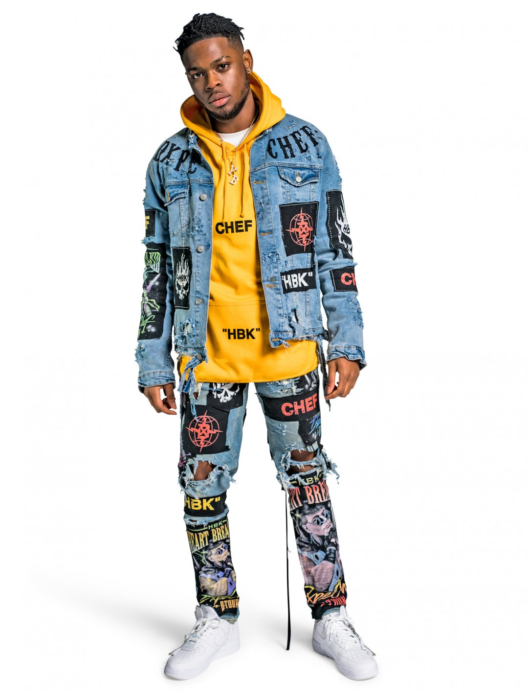 "Yxng Bane's HBK Denim Jacket {""id"":5,""product_section_id"":1,""name"":""Clothing"",""order"":5} Dxpe Chef"