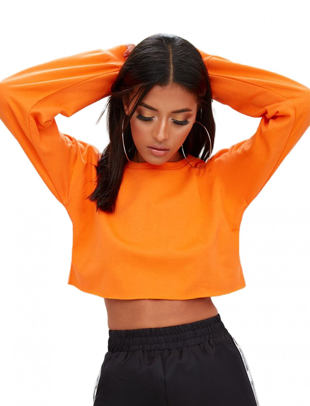 "Crop Sweater In Orange {""id"":5,""product_section_id"":1,""name"":""Clothing"",""order"":5} Pretty Little Thing"