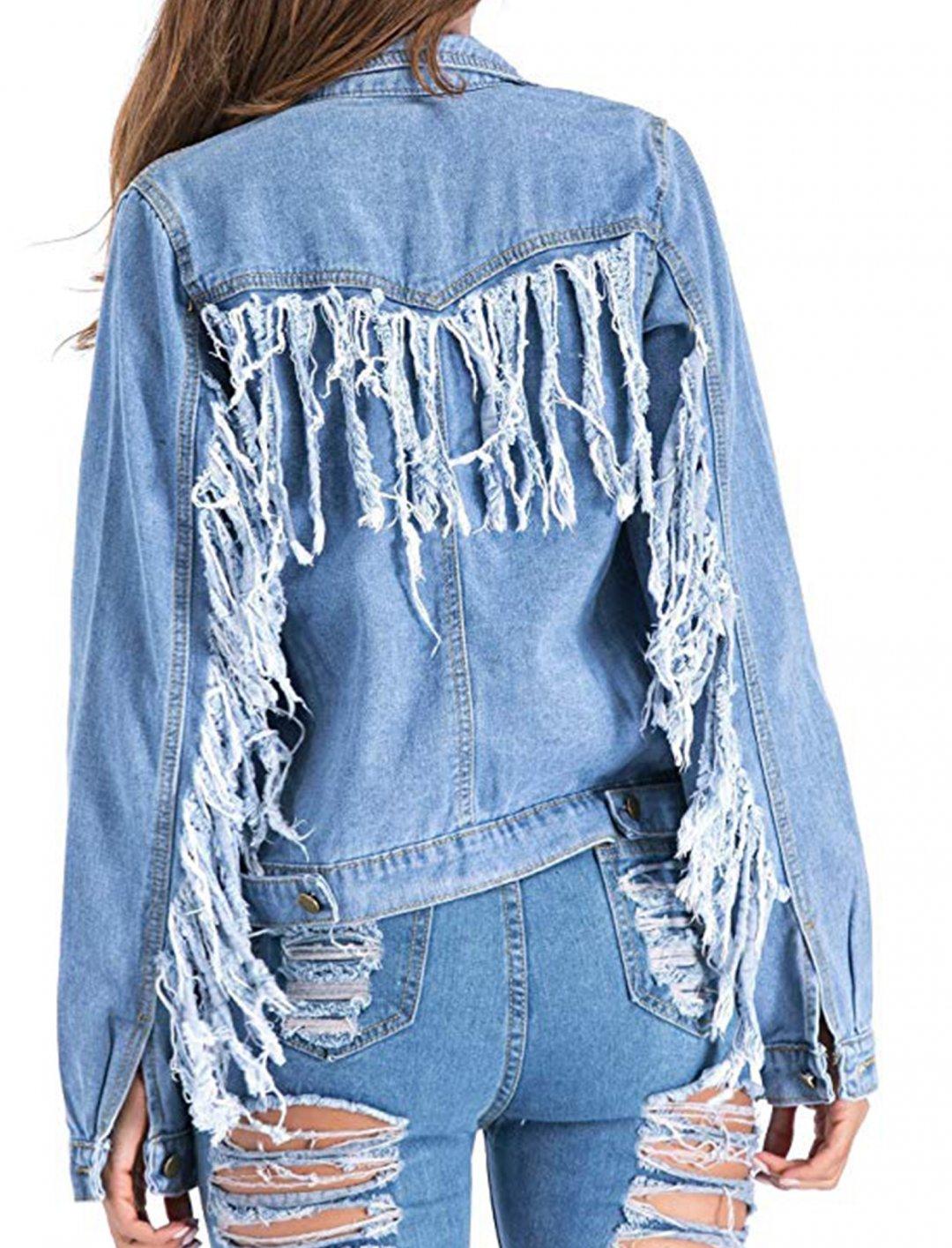 """Fringe Denim Jacket {""""id"""":5,""""product_section_id"""":1,""""name"""":""""Clothing"""",""""order"""":5} Chartou"""