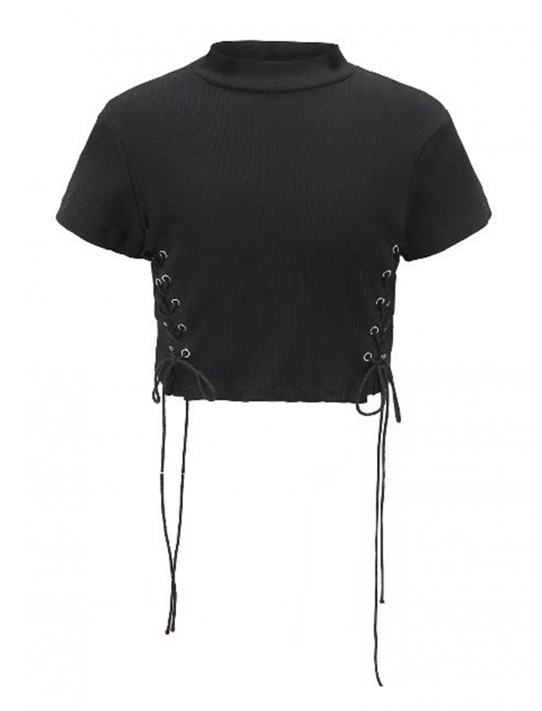 """Lace Up Side Crop Top {""""id"""":5,""""product_section_id"""":1,""""name"""":""""Clothing"""",""""order"""":5} Choies"""