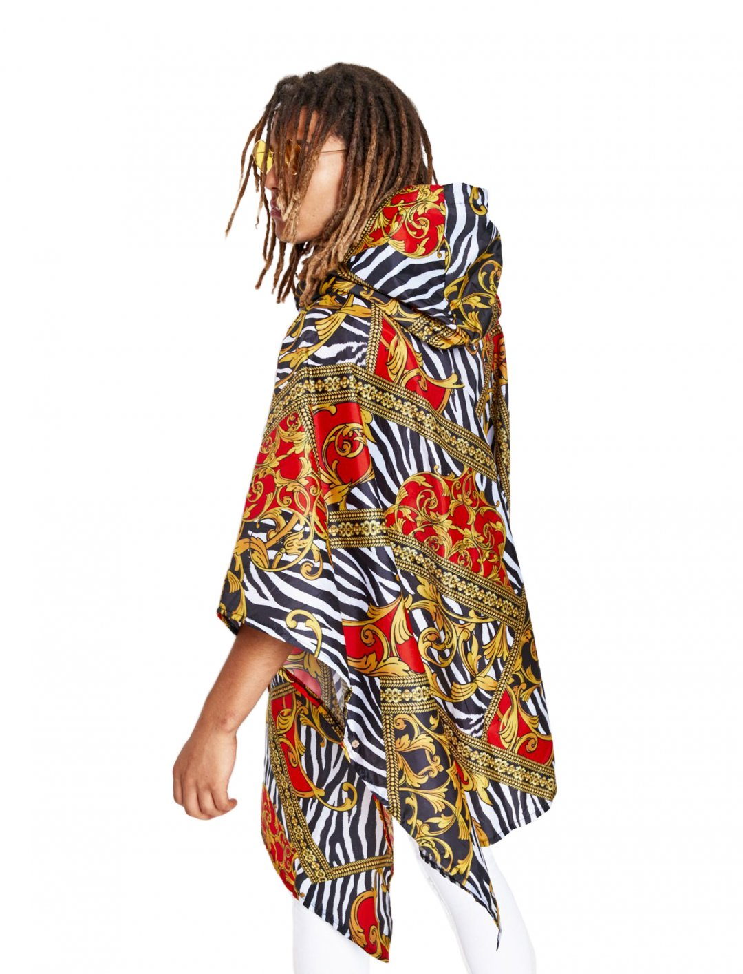 """Zebra Baroque Poncho {""""id"""":5,""""product_section_id"""":1,""""name"""":""""Clothing"""",""""order"""":5} Jaded London"""
