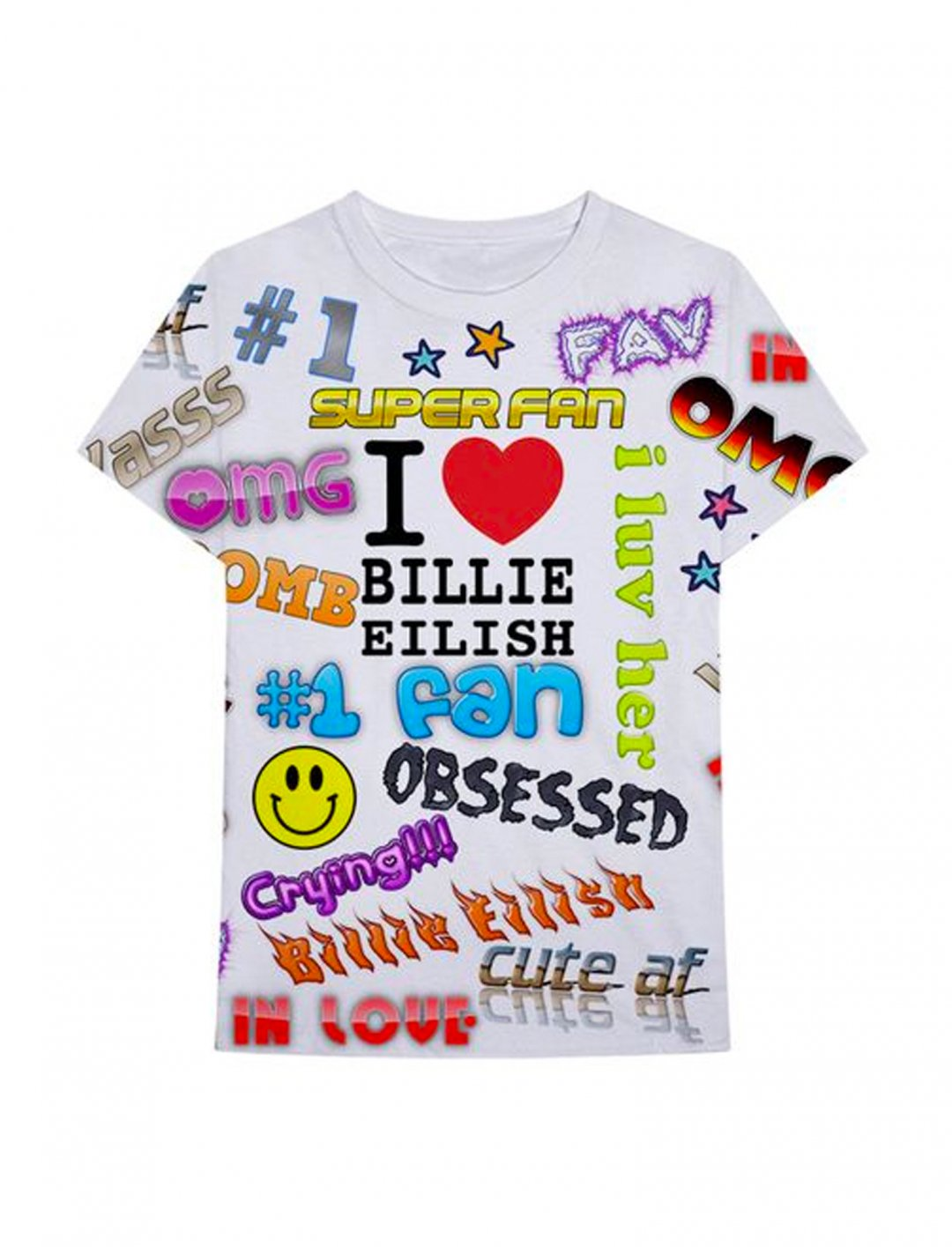 """All Over Print Tee {""""id"""":5,""""product_section_id"""":1,""""name"""":""""Clothing"""",""""order"""":5} Billie Eilish x Freak City"""
