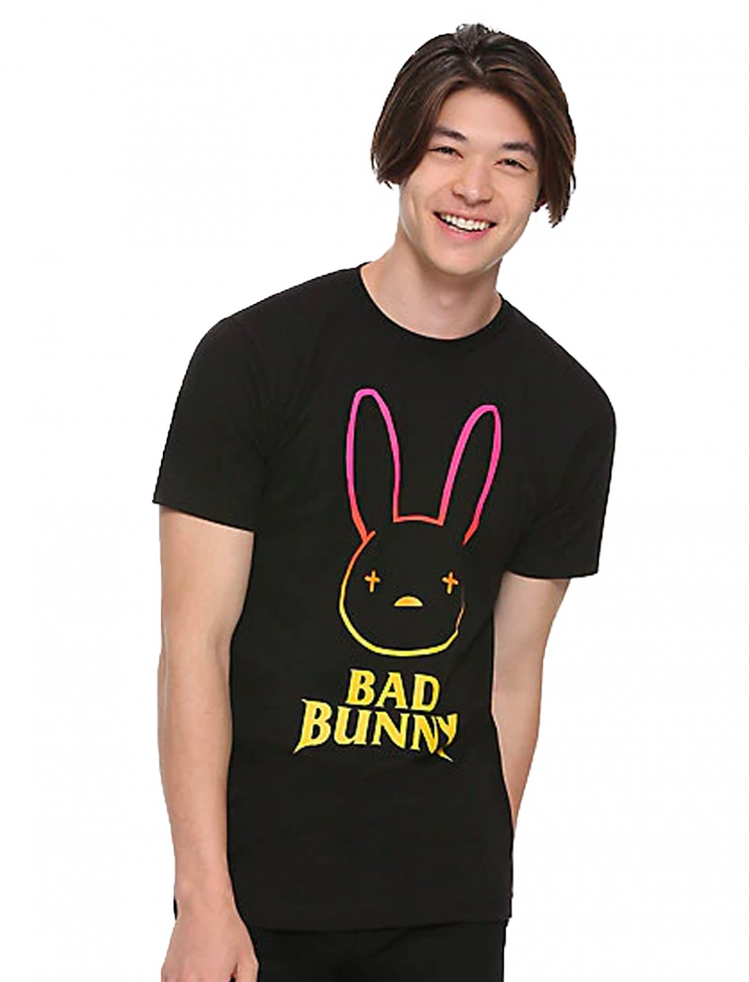 "Bad Bunny T-shirt {""id"":5,""product_section_id"":1,""name"":""Clothing"",""order"":5} Hop Topic"