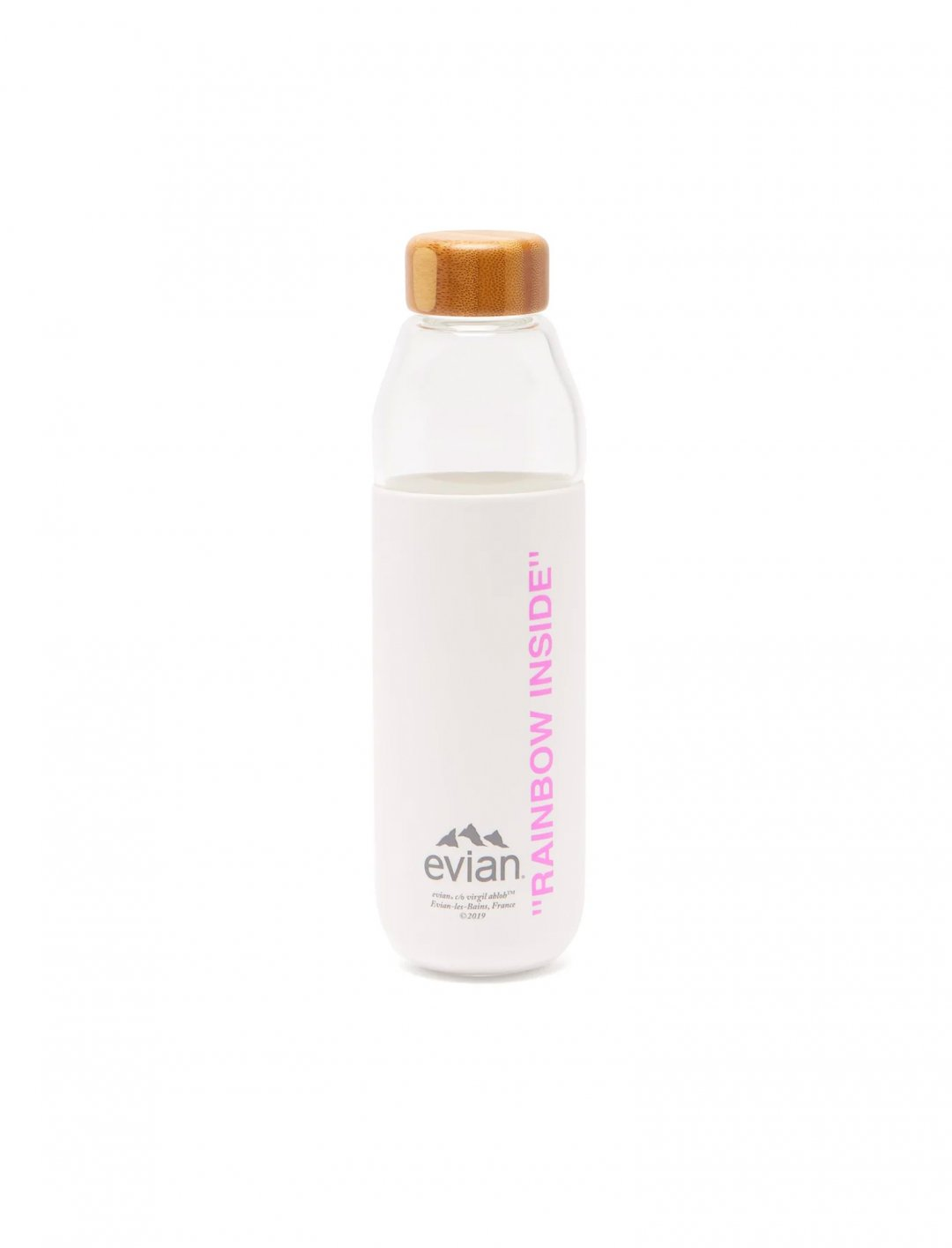 "Glass Water Bootle {""id"":7,""product_section_id"":1,""name"":""Food & Drink"",""order"":7} Evian by Virgil Abloh"