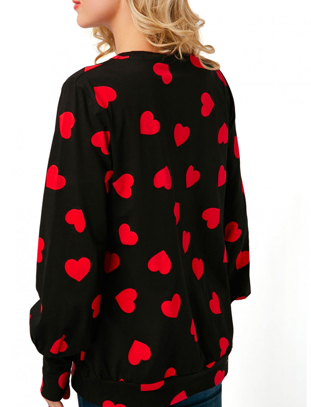 "Heart Print Long Sleeve T-shirt {""id"":5,""product_section_id"":1,""name"":""Clothing"",""order"":5} Lili Gal"