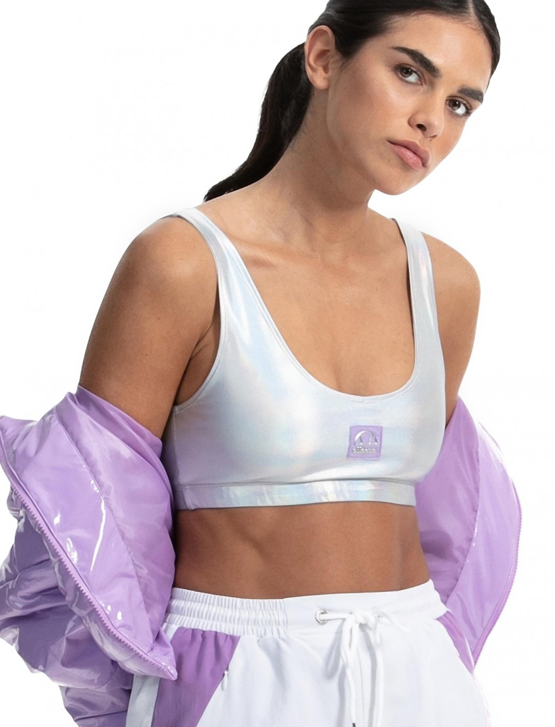 """Iridescent Bralet {""""id"""":5,""""product_section_id"""":1,""""name"""":""""Clothing"""",""""order"""":5} Ellesse x Anne-Marie"""
