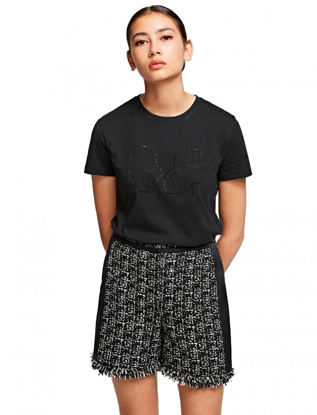 """Karl x Olivia Profile T-shirt {""""id"""":5,""""product_section_id"""":1,""""name"""":""""Clothing"""",""""order"""":5} Karl Lagerfeld x Olivia Palermo"""