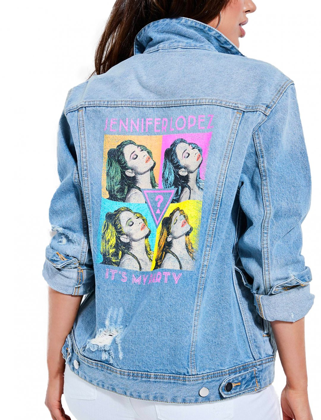 """Pop Art Denim Jacket {""""id"""":5,""""product_section_id"""":1,""""name"""":""""Clothing"""",""""order"""":5} JLo x Guess"""
