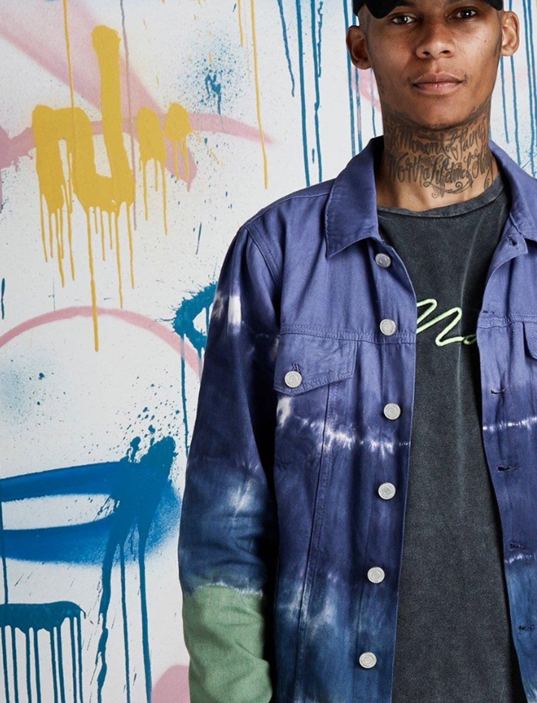 "Quavo Tie Dye Jacket {""id"":5,""product_section_id"":1,""name"":""Clothing"",""order"":5} BoohooMAN x Quavo"