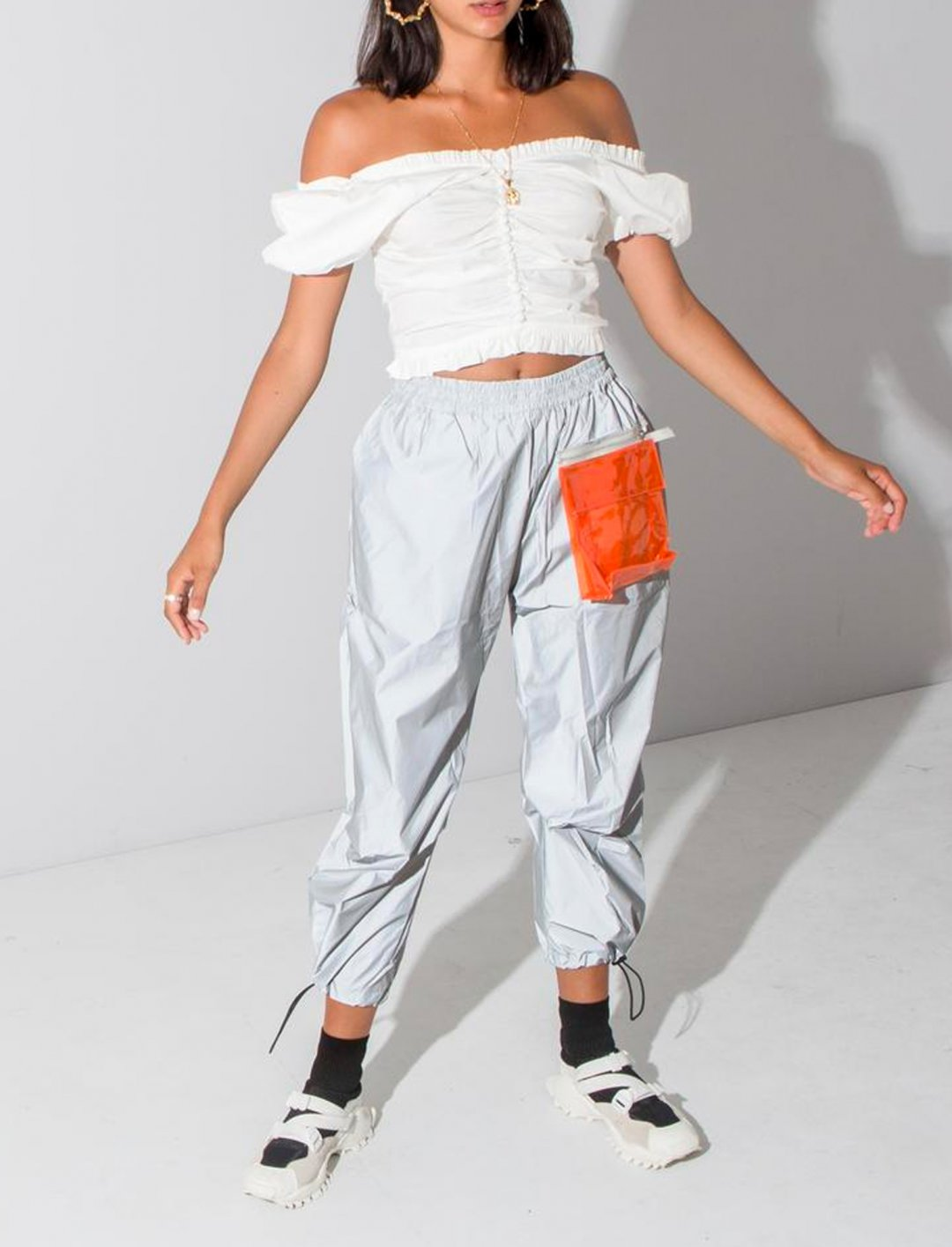 "Reflective Track Pants {""id"":5,""product_section_id"":1,""name"":""Clothing"",""order"":5} Oh Hey Girl"