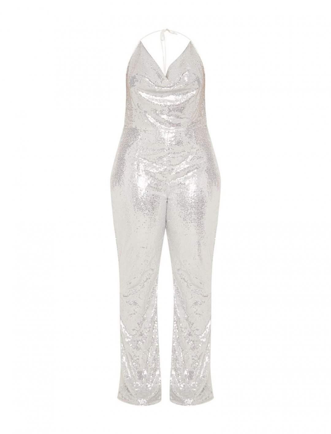 "Silver Sequin Jumpsuit {""id"":5,""product_section_id"":1,""name"":""Clothing"",""order"":5} Hailey Baldwin x Pretty Little Thing"