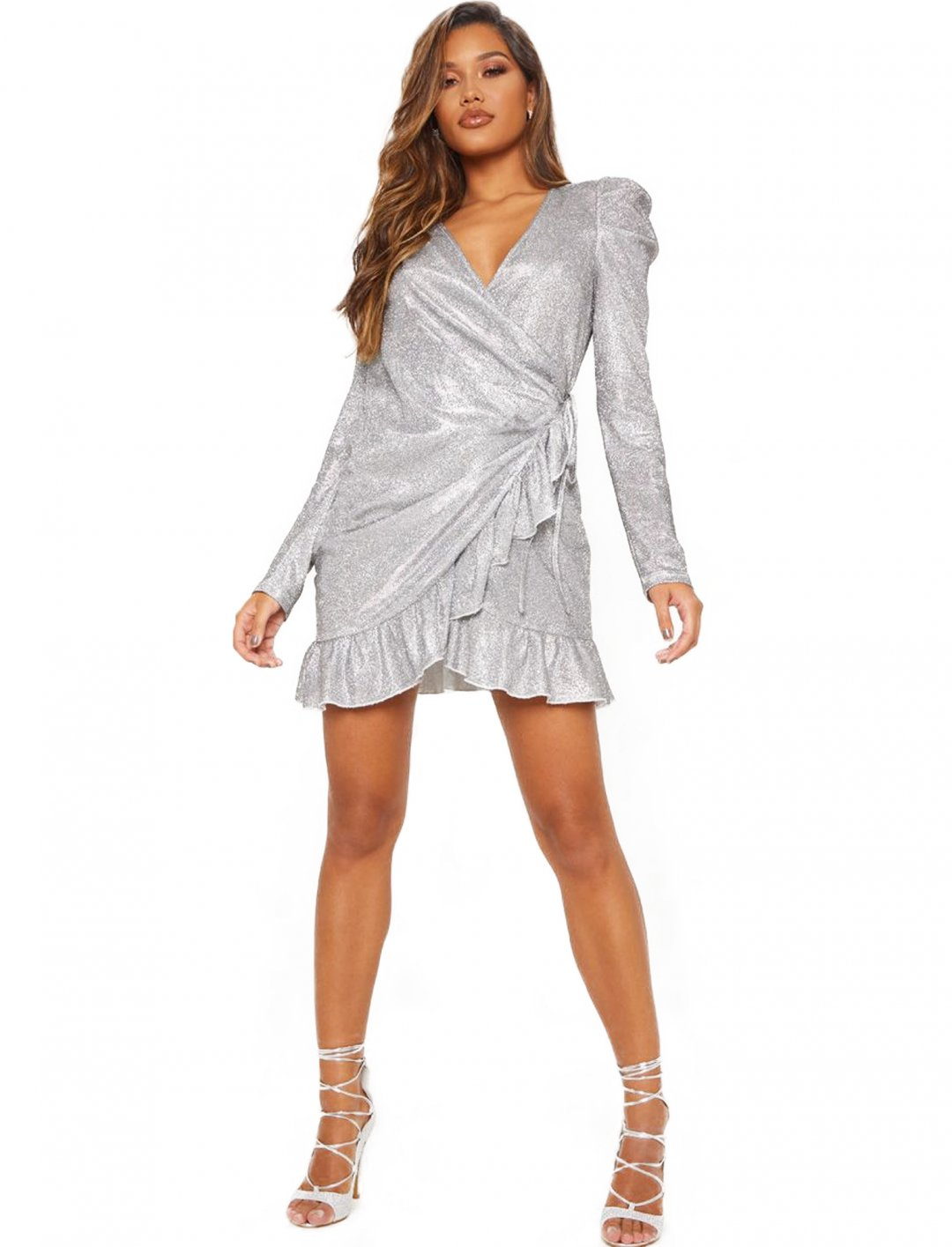 "Silver Wrap Dress {""id"":5,""product_section_id"":1,""name"":""Clothing"",""order"":5} Hailey Baldwin x Pretty Little Thing"