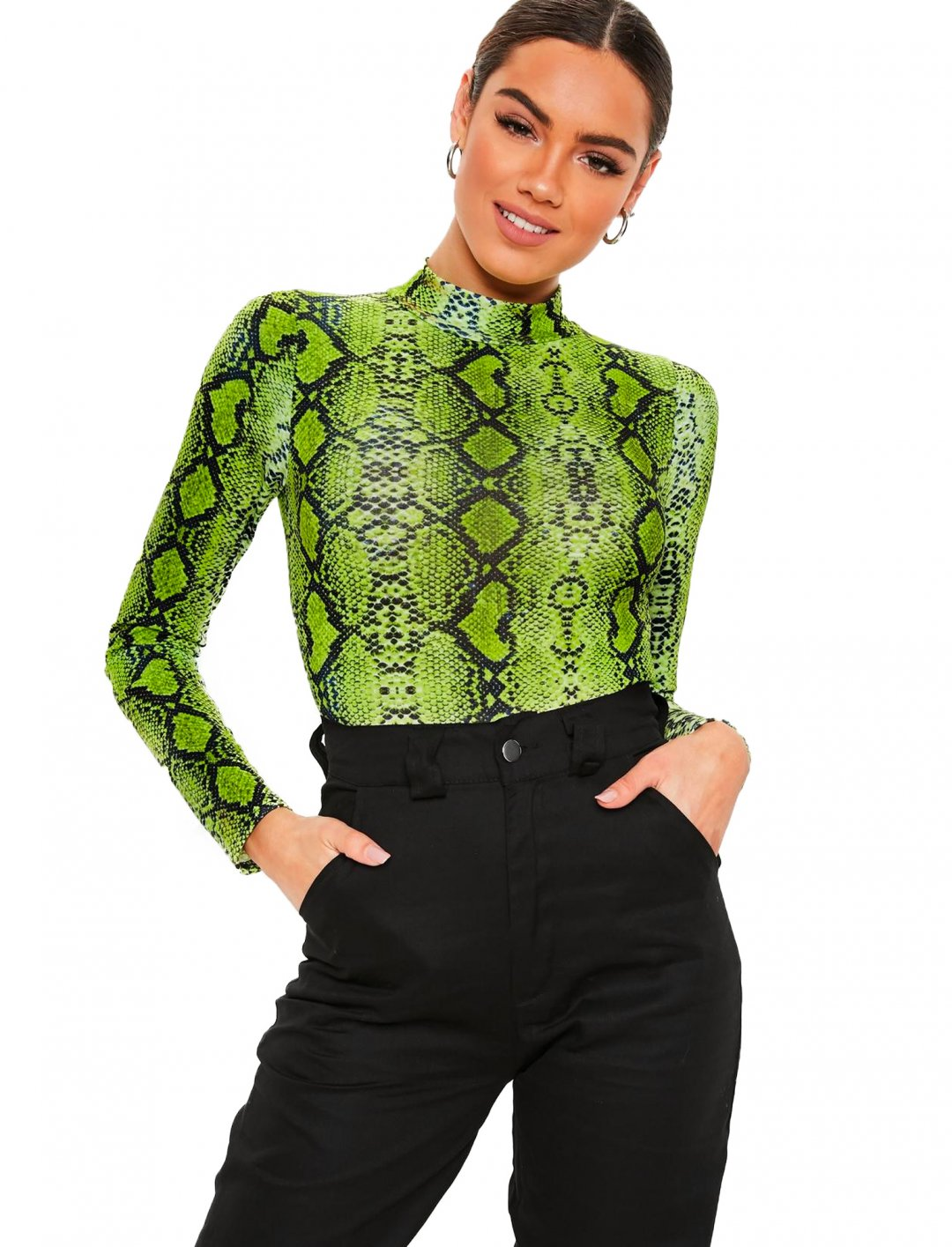 "Snake Print Bodysuit {""id"":5,""product_section_id"":1,""name"":""Clothing"",""order"":5} Missguided"