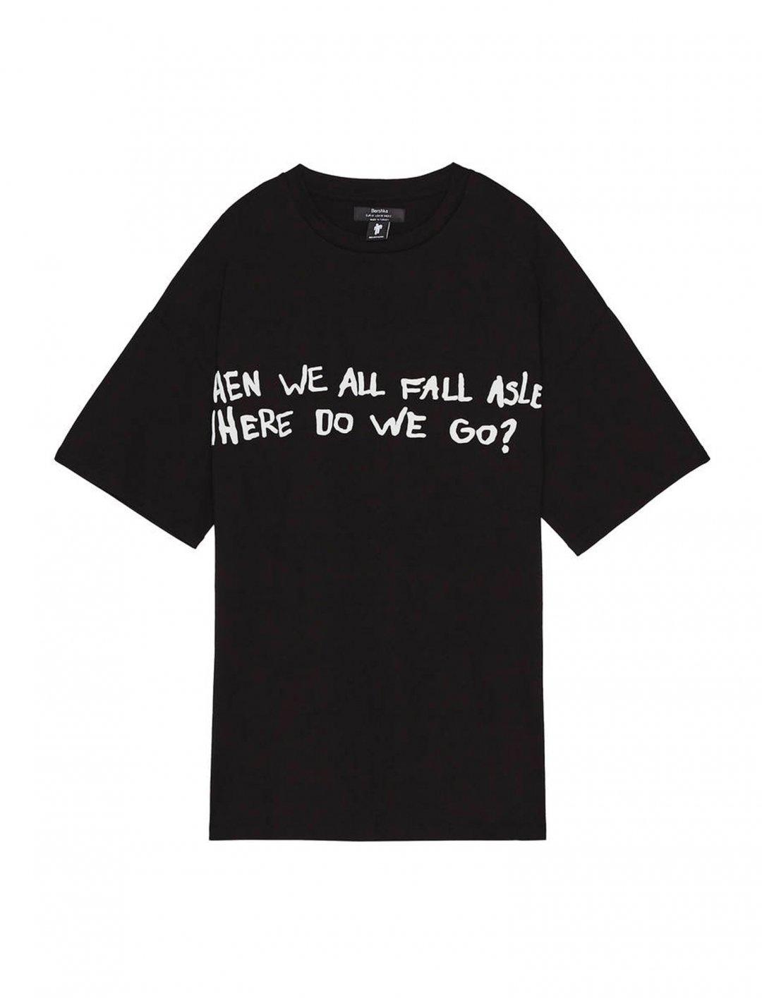 "T-shirt With Slogan {""id"":5,""product_section_id"":1,""name"":""Clothing"",""order"":5} Billie Eilish x Bershka"