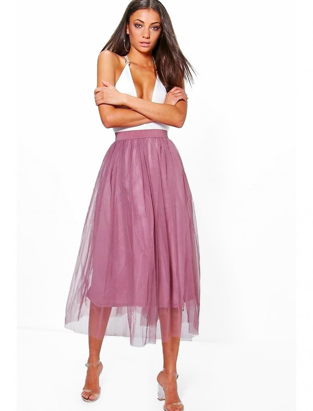 "Tulle Skirt {""id"":5,""product_section_id"":1,""name"":""Clothing"",""order"":5} boohoo"