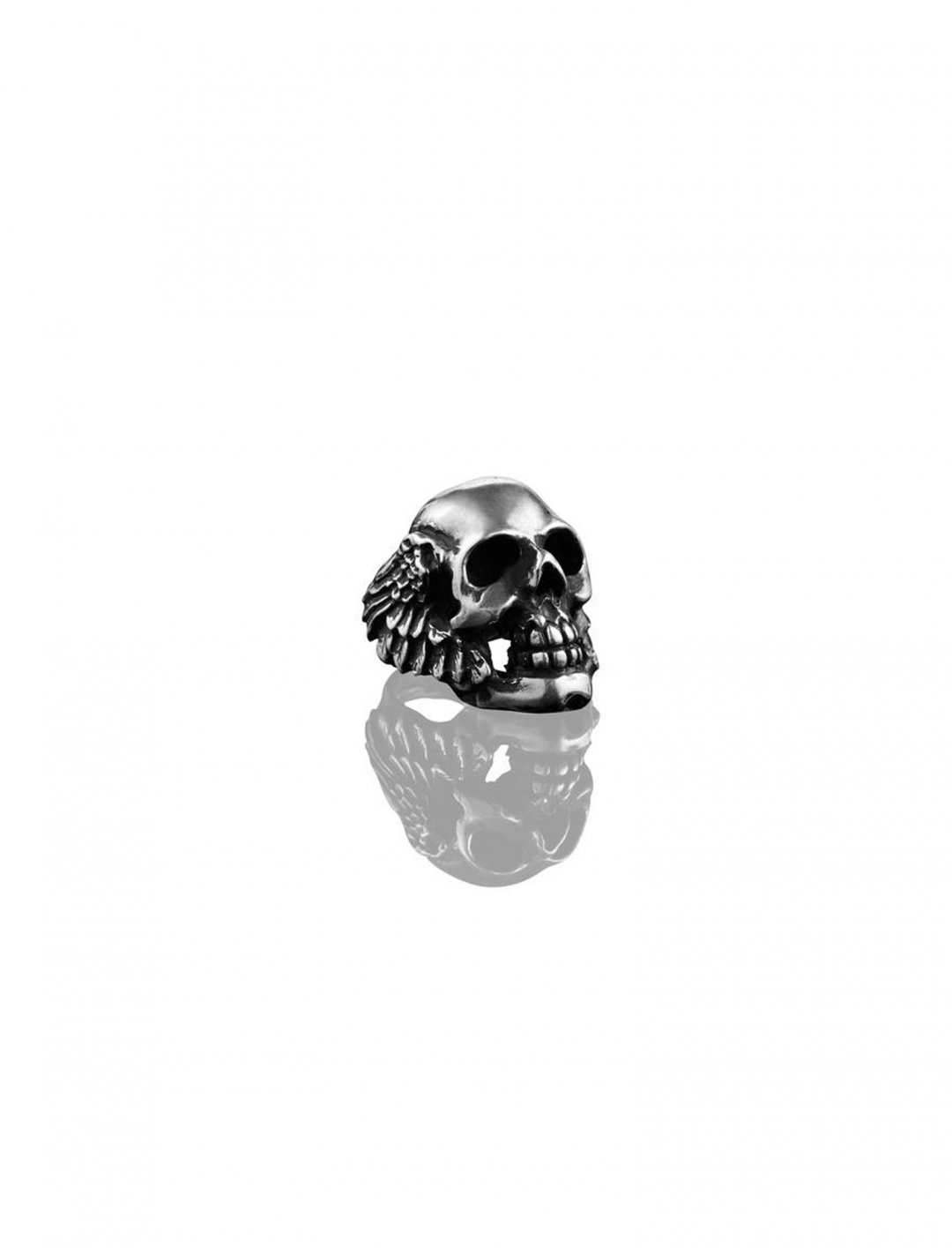 "Winged Skull Ring {""id"":10,""product_section_id"":1,""name"":""Jewellery"",""order"":10} Heart of Bone"
